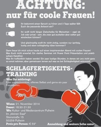 plakat 0 346x435 - Gewinn: Nicoles Schlagfertigkeits-Seminar für coole Frauen in Köln -