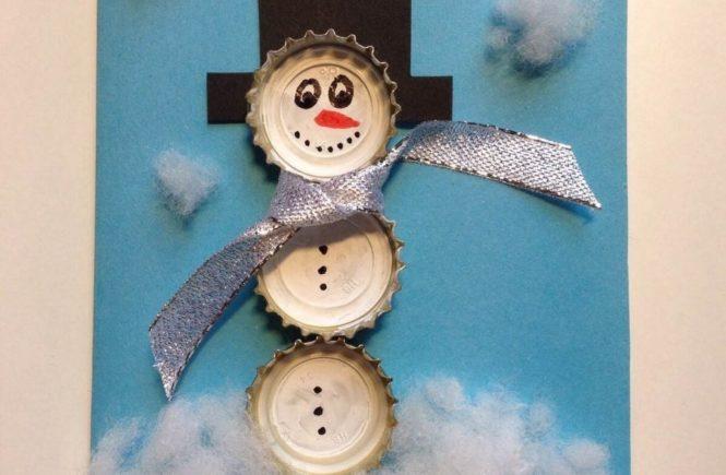 schneemann2 665x435 - Karten selbst gebastelt: Schneemänner aus Kronkorken -