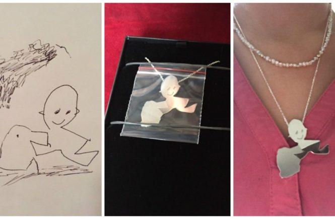schmuck aus kinderzeichnung 0 665x435 - Schmuck aus Kunst: Wie aus einer Kinder-Zeichnung eine Kette für Mama wird -